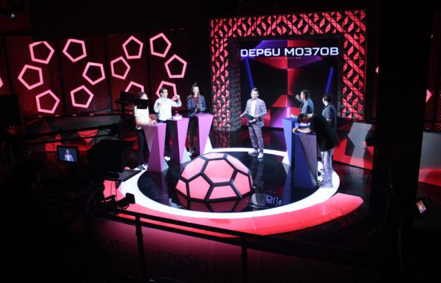 Оформление студии для телепередачи Дерби Мозгов, телеканал МАТЧ ТВ